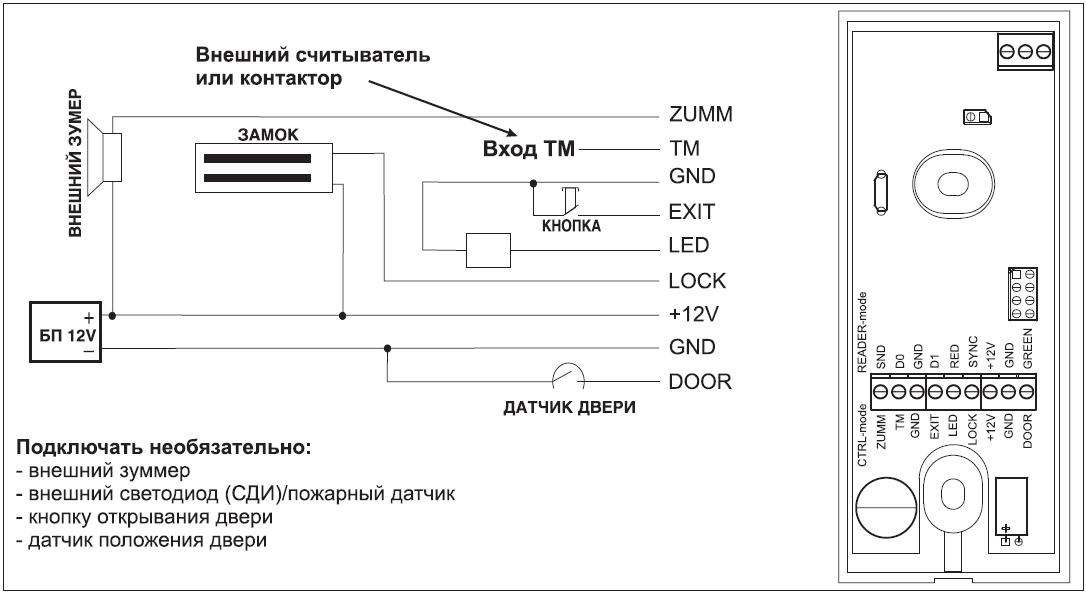 Подключение внешних устройств к Matrix-VI (мод. NFC K Net)